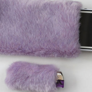 Pastel Kawaii Lighter iPhone Case, Fairy Kei, Fluffy iPhone 5 Case, Furry iPhone Pouch Sleeve & Bic Lighter Case Purple Lavender