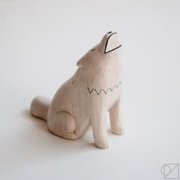 T-lab Handcarved Wooden Wolf