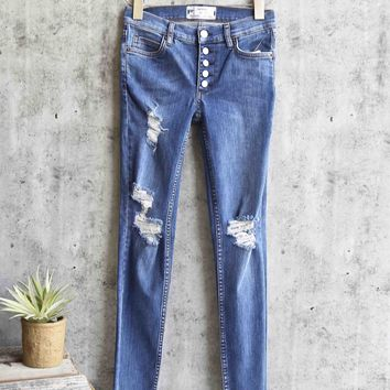 free people - reagan distressed button front jeans - light denim