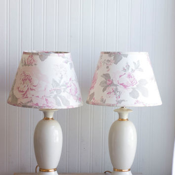 Pair Ivory and Gold Table Lamps with Pink Roses Shades, Vintage Shabby Chic Lights, French Country Decor, Girls Bedroom Lamp, Pink and Gray