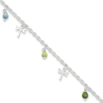 925 Sterling Silver Green and Blue Beaded Dragonfly Ankle Bracelet