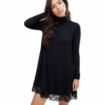 2017 Autumn New Style Women High Street Long Sleeve Black Crochet Turtleneck Lace Loose Shift Dress Patchwork Straight Dresses