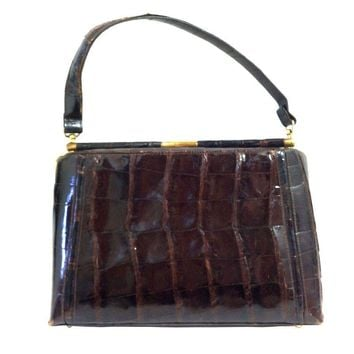 Pre-owned 1960s Deep Cognac Alligator Kelly Style Handbag