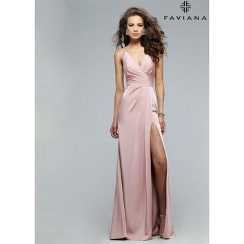 Faviana Faille Satin V-Neck Draped Front Evening Dress