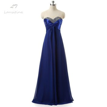 LANSITINA In Stock Real Picture Chiffon Sweetheart with Beads Lace up Back Cheap A-Line Prom Dresses