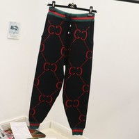 Gucci Autumn Winter Women Double G Print Sport Stretch Pants Trousers Sweatpants Gym Jogging Exercise Casual Sportswear