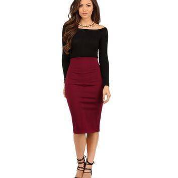 Burgundy It's My Time Pencil Skirt