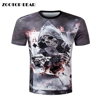 Skull poker print Men short sleeve T shirt 3d t-shirt casual breathable t-shirt plus-size tshirt homme New design ZOOTOP BEAR