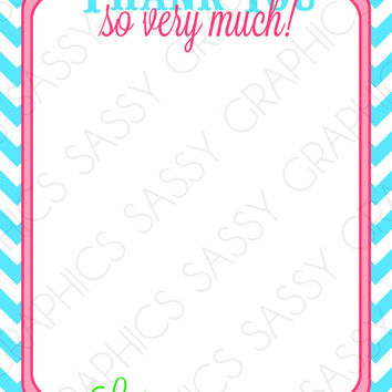 Girls Baby Shower Thank You Card - Pink, Green, Turquoise, Chevron, Printable, Digital