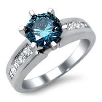 1.40ct Blue Round Diamond Engagement Ring 14k White Gold