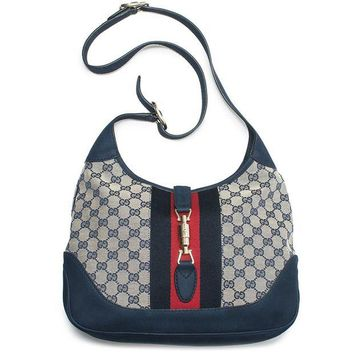 ONETOW Gucci Jackie Original GG Shoulder Bag Stripe Classic Medium Handbag Blue Navy Red New
