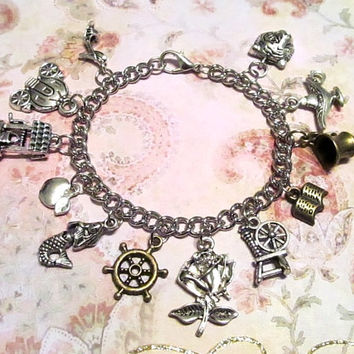 DISNEY PRINCESS (6 Princesses) Inspired Charm Bracelet w/ TWELVE Charms