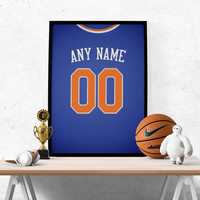 New York Knicks Jersey Poster - Print Personalized Select ANY Name & ANY Number