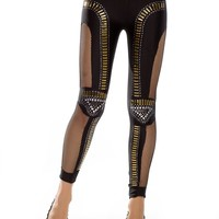 Amour Women's Half Leather Front Lycra Back Footless Legging