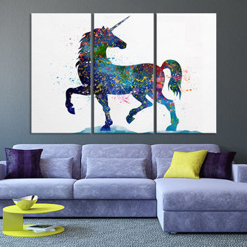 Art Print - Unicorn Watercolor illustrations Wall Art Canvas Print - Kids Room Wall Art Unicorn - Ready to Hang - MC65