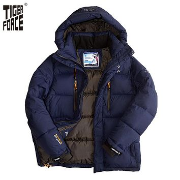 TIGER FORCE 2016 Brand Men Winter Padded Jacket Fashion Cotton Polyester Thick Coat Parka With Hood European Size Free Shipping