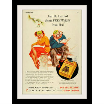 """1936 Old Gold Cigarette Ad """"Redhead Pin Up Girl"""" Vintage Advertisement Print"""