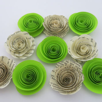 "Book Page and Neon Lime Green Roses, 1.5"" paper flowers set, 1.5"" rosettes, 80s theme party mix & match colors, tropical wedding table decor"