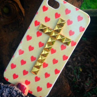 iPhone 5 5s Phone Case Red Heart Valentine Print Gold Cross Studded Cover