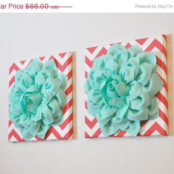 "MOTHERS DAY SALE Two Wall Flowers -Mint Dahlia Flowers on Coral and White Chevron 12 x12"" Canvas Wall Art- Baby Nursery Wall Decor-"
