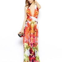 Forever Unique Plunge Neck Maxi Dress in Tropical Floral Print