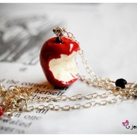 Snow White's apple necklace by gjentagelsen on Etsy