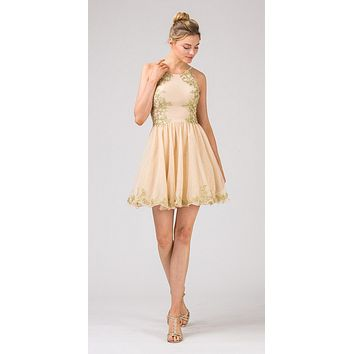 Champagne Homecoming Short Dress with Gold Appliques
