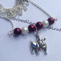 Mississippi State Bulldog necklace, maroon and white pearls with a silver Bully bulldog charm, Hail State!