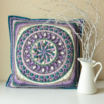 Dandelion crochet pillow cover - pillowcase with mandala - square cushion