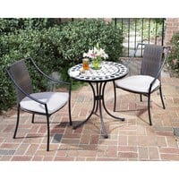 Home Styles Furniture 5605-340 Marble Bistro Table and Two Laguna Slope Arm Chairs