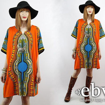 Vintage Hippie Dress Vintage 70s Ethnic Print Indian Hippie Caftan Mini Dress Vintage Dashiki Plus Size Vintage Plus Size Dress 1X 2X 3X 4X