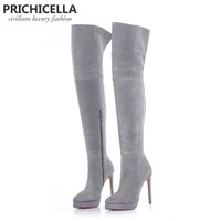 14cm stiletto high heel grey suede platform thigh high riding Boots