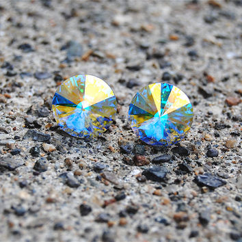 Aurora Borealis Northern Lights Super Sparklers Swarovski Crystal Aurora Borealis Northern Lights Stud Earrings Mashugana