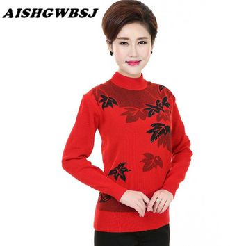 AISHGWBSJ Autumn Winter Middle-Aged Mother Clothing Sweater Pullover Knitted Print Wool Half Turtleneck Sweater Plus Size QYX104