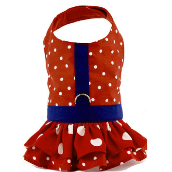 Red Polka Dot Ruffled Dog Vest Harness