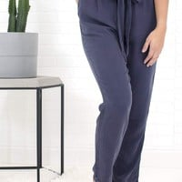 Women's Pant with Belted Paperbag Waist