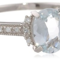 Sterling Silver, Aquamarine, and Diamond Ring