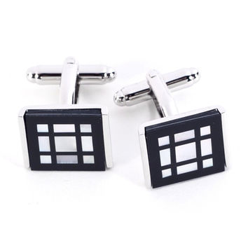 Rhodium Plated Cufflinks With Black 'Onyx' and Mother of Pearl Square Pattern