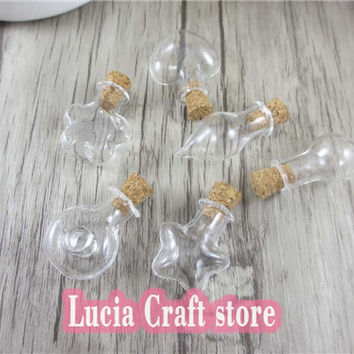 6pcs lot Mixed Shapes Small Drift Bottles Tiny Empty Wishing Glass Message Vial With Cork Stopper Mini Containers 078006003