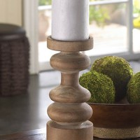 Craftsmen Wooden Pillar Candle Holder Centerpiece
