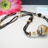 Black Gold Beaded Necklace Boho Jewelry Fashion Accessories For Her