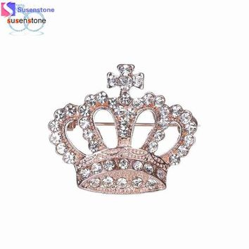 DCCKU7Q Women Rhinestone Crown Brooche