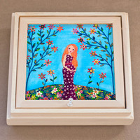 Pregnant Mother and Baby Large Jewelry Box with Mirror, Trinket Box, Gift Box for Baby Shower Gift, Mothers Day Gift