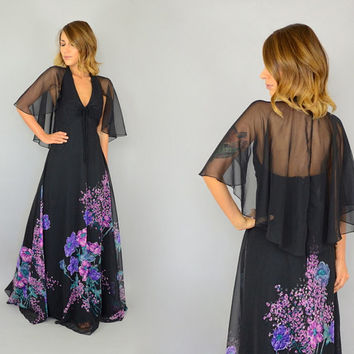 70's Black Floral HALTER bohemian etheral avant garde sheer CAPE Maxi DRESS cocktail gown, medium