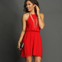 Sale-red Soft Pleats Dress