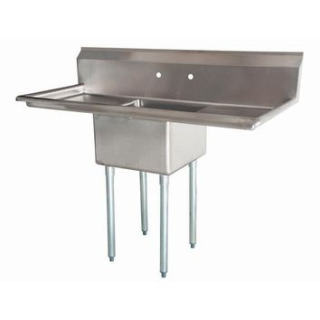 "Stainless Steel 1 Compartment Sink 54"" x 27"" with 2 18"" Drainboards"