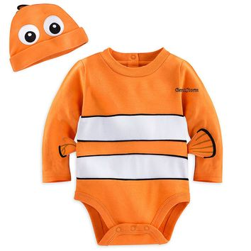 Licensed cool Finding Nemo Bodysuit Baby Costume & Cap W/ 3-D fins Disney Store 18-24M Dory