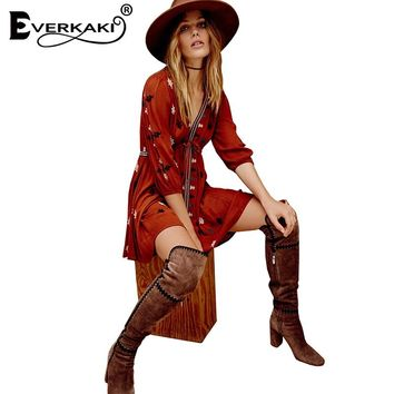 Everkaki Women Boho Embroidery Mini Dress Vestidos Cotton Loose V Neck Lace Up Waist Bohemian Dresses Female 2017 New Hot Sale