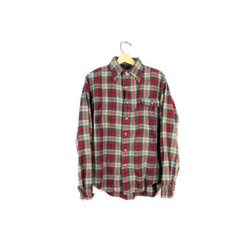Vtg Viyella wool flannel shirt / red & green plaid 90s grunge / soft flannel boyfriend shirt / mens small