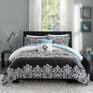 Intelligent Design Leona 5 Piece Comforter Set, Black, Full/Queen